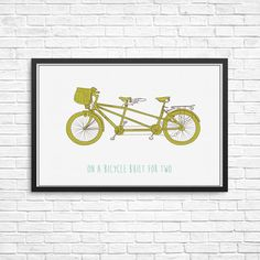 On a bicycle built for two print DIY printable by Papierscharmants Bedroom Prints, Bedroom Decor, New Fathers, Bicycle Art, Kids Room, How To Draw Hands, Nursery, Printables, Art Prints
