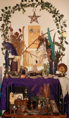 My messy altar :)  Found on Fuck Yeah Altars