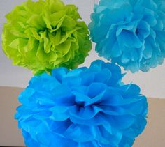 Tissue Paper Pom Poms - 10 Tissue Poms - Your Color Choice- SALE - Buzz Lightyear Party - Boy party decorations on Etsy, $30.00