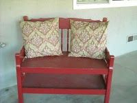 Twin bed becomes an outdoor bench