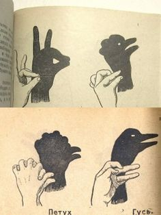 Shadow figures with hands