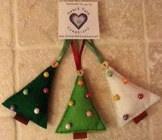 3 X SHABBY CHIC FELT CHRISTMAS TREE DECORATIONS HANDMADE FROM WOOL BLEND FELT   eBay