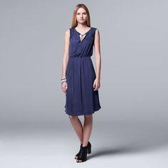 Petite Simply Vera Vera Wang Pleated Satin Fit & Flare Dress