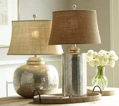Geena Table Lamp Bases #potterybarn  Round bottom = $200  Tall = $160  Both are WITHOUT a shade