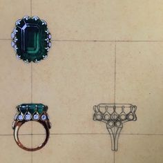 The 1958 Cartier redesign for the Duchess of Windsor's emerald engagement ring, of 19.77 carats, which originally had been mounted by Cartier London in 1936, from Beth Bernstein's book 'If These Jewels Could Talk' #DuchessofWindsor #Cartier #greatjewelrycollectors
