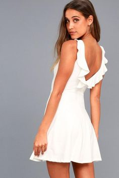 afb4863289d8a #Valentines #AdoreWe #Lulus - #Lulus Craving You White Backless Skater Dress  -