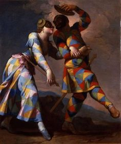 Harlequin and his Lady Giovanni Domenico Ferretti (Italian, Oil on canvas. The delicate tonalities of the landscape background, the sotto in su point of. Art And Illustration, Pierrot, Baroque Painting, Culture Art, World Of Fantasy, Landscape Background, Pablo Picasso, Vintage Posters, Framed Art
