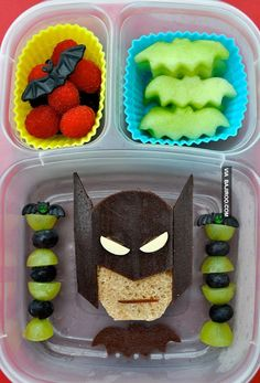 Batman Bento.. A little too much time on someone's hands. But I think the fruit is doable.