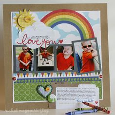 cute layout, love the rainbow out of pattern paper.