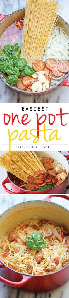 One Pot Pasta - The easiest, most amazing pasta you will ever make. Even the pasta gets cooked right in the pot. How easy is that?! Yummy Recipes, Dinner Recipes, Cooking Recipes, Easy Healthy Pasta Recipes, Healthy Sausage Recipes, One Pot Recipes, Top Recipes, Fall Recipes, Breakfast Recipes
