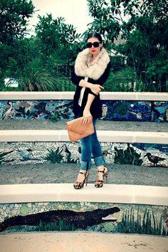 Current/ Elliott cuffed jeans, Prada heels, vintage fur. More details on VirginiaalaMode.com