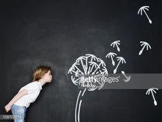 Stock Photo : Boy blowing dandelion clock - Chalk Art İdeas in 2019 Blowing Dandelion, Dandelion Clock, Wall Painting Decor, Wall Art, Diy Cadeau Maitresse, Children Photography, Art Photography, Chalk Photos, Corporate Event Design