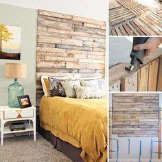 Des planches de palettes contre le mur sur toute la hauteur pour une tête de lit originale