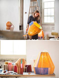 Ana- Ana We can so do this…Designer Ana Kras. Wooden Lampshade, Lampshades, 5 Panel Wall Art, Old Lamp Shades, Bamboo Lamp, Diy Chandelier, Diy Interior, Ana Kras, Diy Arts And Crafts
