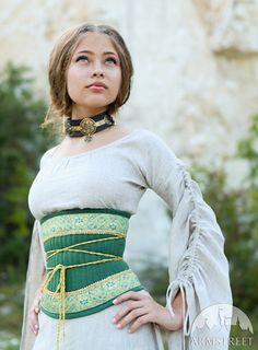 "SALE Medieval Renaissance Flax Corset Belt ""Mistress Of The Hills"""