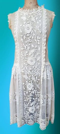 1920's Heavily Embroidered Lace Dress