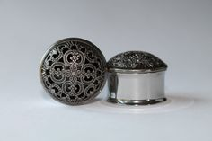 Ornate Domed Charcoal Plugs gauges 7/16 by FromAHobosHandbag