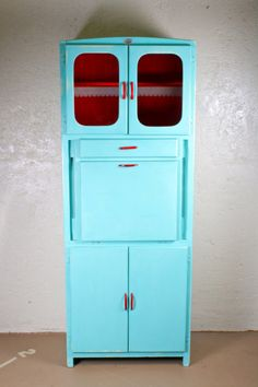 1950's Hoosier Cabinet  @Laura Slown, this is MY cabinet!  I should totally paint it like that!