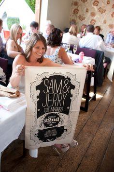 Custom wedding banner.