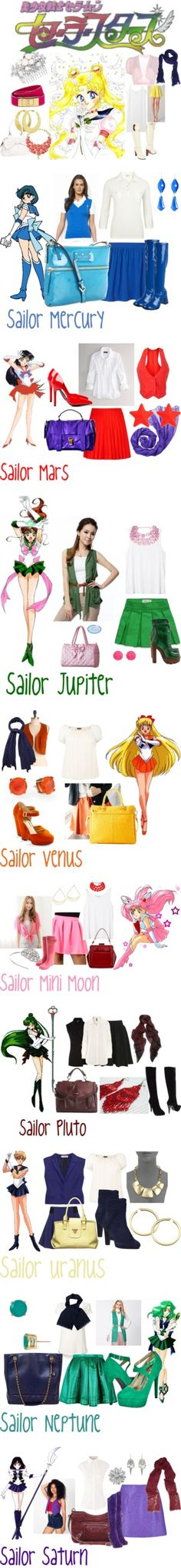 """Sailor Moon Sailor Scout Style"" by lisagrace303 ❤ liked on Polyvore... Used to watch this with my sister when we were reallllllyyyyyy little"
