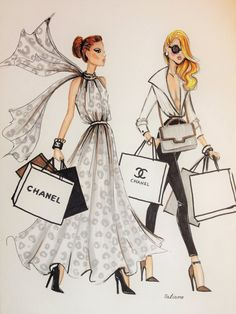 ORIGINAL fashion illustration-Shopping day por loveillustration
