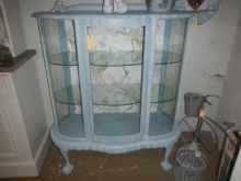 vintage Imbuia Kidney shaped cabinet techniqued with a Annie Sloan duck egg blue mix