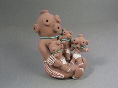 Chris Teller  |  Isleta Pueblo  |  Mudhead with Three Children