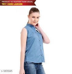Shirts  Ladies Voguish Denim Shirt  *Fabric* Denim  *Sleeves* Sleeves Are Not Included    *Size* S - 36 in, M - 38 in, L - 40 in, XL - 42 in  *Length* Up To 26 in  *Type* Stitched  *Description* It Has 1 Piece Of Women's Shirt  *Pattern * Solid  *Sizes Available* S, M, L, XL *   Catalog Rating: ★4 (642)  Catalog Name: Free Mask  Trendyfrog Ladies Voguish Denim Shirts Vol 13 CatalogID_151286 C79-SC1022 Code: 882-1205025-