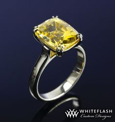 #Whiteflash  6 carat yellow sapphire engagement ring is set in double claw prongs in platinum.