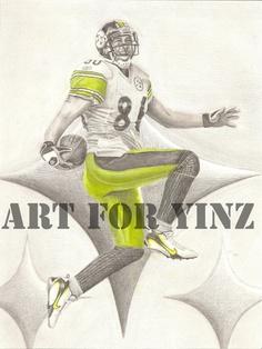 Pittsburgh Steelers Hines Ward Original Drawings by tempym on Etsy, $55.00