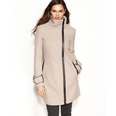 Calvin Klein Wool-Blend Faux-Leather-Trim Coat