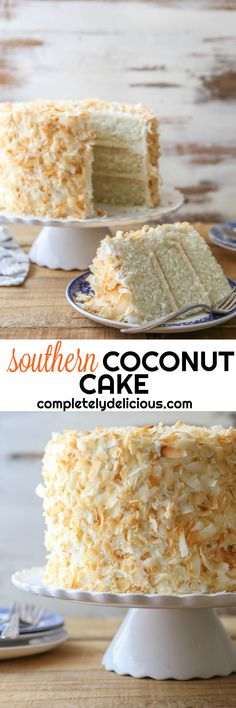 This southern coconut layer cake has light and tender coconut cake layers, a creamy coconut filling, and coconut cream cheese frosting. Southern Coconut Cake Recipe, Coconut Recipes, Baking Recipes, Coconut Cakes, Lemon Cakes, Delicious Cake Recipes, Yummy Cakes, Dessert Recipes, Yummy Food