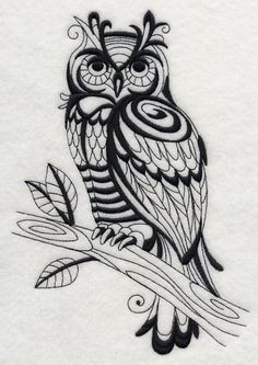 Machine Embroidery Designs at Embroidery Library! - A Wild for Blackwork Design Pack - Sm Wood Burning Crafts, Wood Burning Patterns, Wood Burning Art, Machine Embroidery Designs, Embroidery Patterns, Owl Embroidery, Embroidery Tattoo, Mexican Embroidery, Owl Patterns