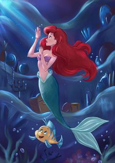 Little mermaid art walt disney, disney love, disney nerd, disney fan Walt Disney, Disney Pixar, Disney E Dreamworks, Cute Disney, Disney Animation, Disney Characters, Ariel Mermaid, Mermaid Disney, Disney Little Mermaids