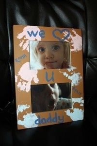 Fathers day craft from the kids to daddy-get one for 3 pics but ultra sound pic in one