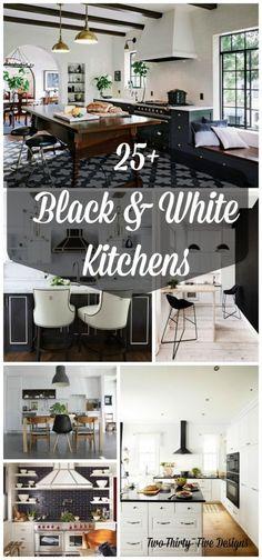 25+ Black and White Kitchens