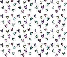 Colorful Watercolor Hearts fabric by wildwoodpoppy on Spoonflower - custom fabric