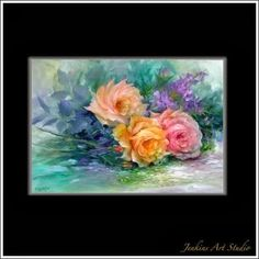 old-fashioned-roses › Farbi Flora Gary Jenkins, Abstract Art, Canvas Art, Fine Art, Rose, Painting Tutorials, Sunflowers, Albums, Decoupage