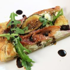 ... , Fig, Goat Cheese, & Arugula Flatbread with Balsamic Reduction