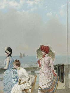 """1884 seaside dresses, """"Afternoon in the Sea"""" by Corcos"""