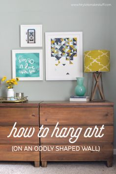 Learn how to hang artwork to disguise an oddly shaped wall. Wall Decor, Bedroom Decor, Diy Wall, Big Wall Art, Hanging Art, Decorating Tips, Home Hacks, Origami Shapes, Home Projects
