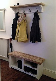 Best DIY Coat Rack Images in 2019 (Coat Stands, Clothes Rack) – Coat of arms Shoe Storage Coat Rack, Shoe Rack And Coat Hook, Diy Storage, Storage Hooks, Coat Racks, Wall Coat Rack, Hanging Coat Rack, Clothes Storage, Wood Storage
