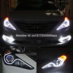 427.50$  Buy now - http://alind1.worldwells.pw/go.php?t=32573050421 - Car Styling DRL Set LED Lightbar Projector Len Headlight Head Lamp Angel Eye turn light For 2011 2012 2013 2014 Hyundai Sonata
