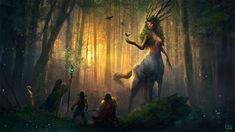 Spirit of The Forest, Rob Joseph | Fantasy forest demigod wizard warrior travelers