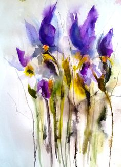 Fallen Irises by Karin Johannesson --- Canada --- PaintingWatercolor --- Size: 20 x 15 x 1 in