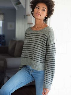 Parnell uses two shades of Berroco Ultra Alpaca Light to create an oversized, Breton-inspired pullover. The stripes are worked in the body and sleeves, but the shoulders are worked in a solid color for a chic look. Jumper Knitting Pattern, Knitting Patterns Free, Free Knitting, Free Pattern, Ladies Cardigan Knitting Patterns, Jumpers For Women, Sweaters For Women, Crochet Patron, Sport Weight Yarn