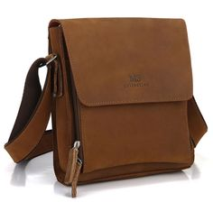 GENUINE SADDLE LEATHER MEN'S MESSENGER BAG CROSSBODY BAG SHOULDER BAG IPAD CASE IN LIGHT BROWN