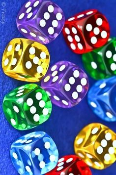 colorful dice watercolor painting