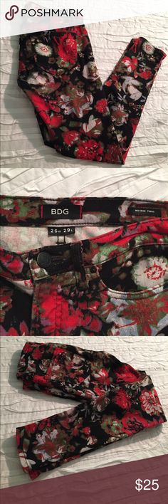 Urban Outfitters Floral Denim Urban Outfitters Floral Denim. 26 Wide 29 L mid rise twig style Urban Outfitters Jeans Skinny