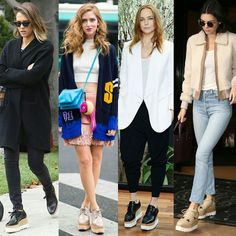 Fashion fight! @stellamccartney oxford flatforms  VOTA tu look favorito: Jessica/Chiara/Stella/Kendall? Quién gana la batalla con los oxford flatforms de Stella McCartney?? by outfitideas4you